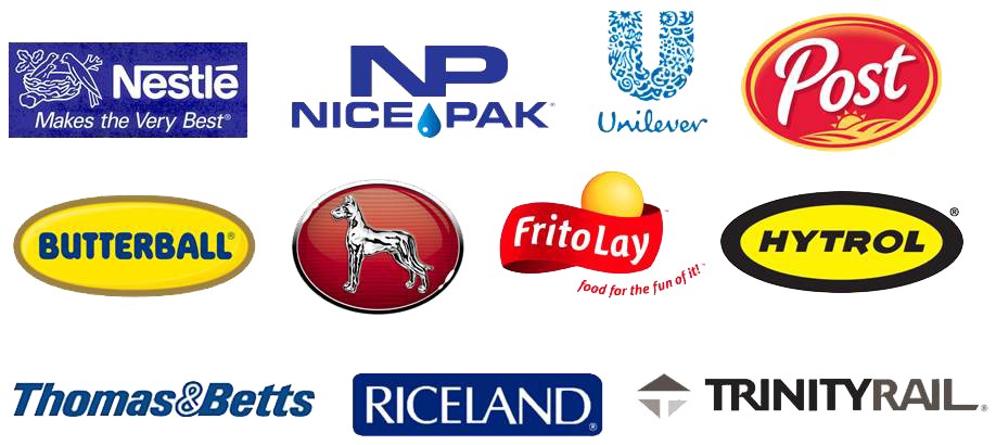 Nestle, Nice Pak, Unilever, Greate Dane, Butterball, Hytrol, Thomas & Betts, Post, Riceland, FritoLay, Nordex